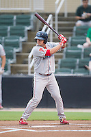 Andrew Knapp (16) of the Lakewood BlueClaws at bat against the Kannapolis Intimidators at CMC-NorthEast Stadium on July 19, 2014 in Kannapolis, North Carolina.  The Intimidators defeated the BlueClaws 8-4. (Brian Westerholt/Four Seam Images)