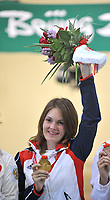 Aug 09, 2008, Beijing, China, Katerina Emmons of the Czech Republic with the gold medal on the podium during the medal award ceremony for the 10m air rifle women's final at the Beijing Shooting Range Hall. It is the first medal award ceremony of the Beijing 2008 Olympics. <br /> Aug 09, 2008, Beijing, China, Katerina Emmons of the Czech Republic during the 10m air rifle women's final at the Beijing Shooting Range Hall. Emmons won the gold medal. It is the first gold medal of the Beijing 2008 Olympics Games.<br /> CSPA/Insidefoto