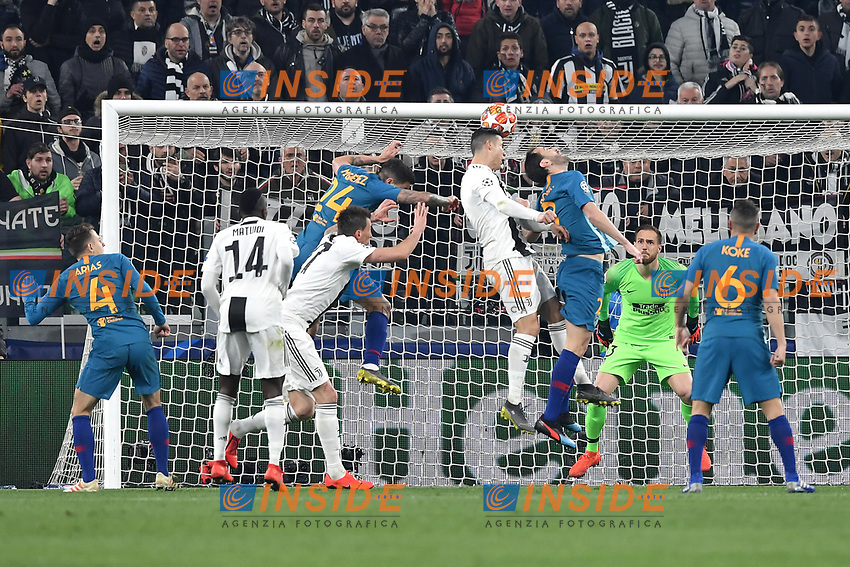 Cristiano Ronaldo of Juventus scores goal of 2-0 during the Uefa Champions League 2018/2019 round of 16 second leg football match between Juventus and Atletico Madrid at Juventus stadium, Turin, March, 12, 2019 <br />  Foto Andrea Staccioli / Insidefoto
