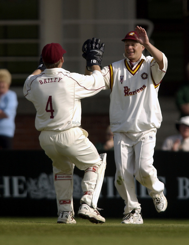 .Photo. Jed Wee.Yorkshire v Northamptonshire, Frizzell County Championship Division Two, Headingley, Leeds. 18/04/2003..Northamptonshire's Gerard Brophy (R) with Toby Bailey.
