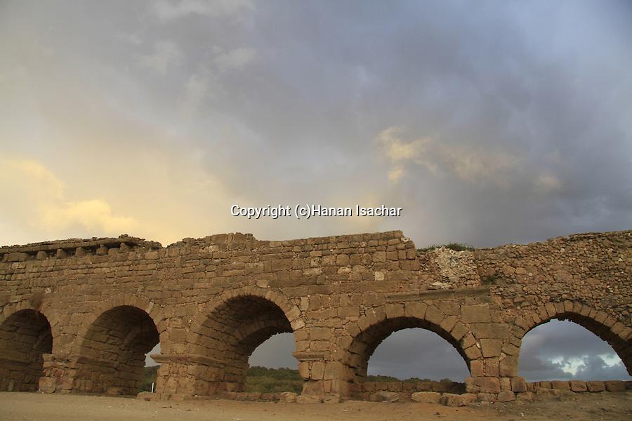 Israel, the Roman Upper Aqueduct In Caesarea