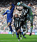 Newcastle's Steve Harper and Chelsea's Ricardo Carvalho. during the Premier League match at the St James' Park Stadium, Newcastle. Picture date 5th May 2008. Picture credit should read: Richard Lee/Sportimage