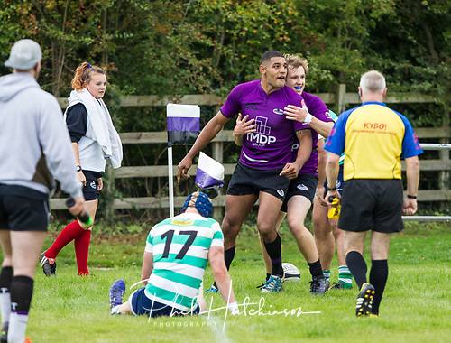 Leicester, England, 9th, September, 2017. <br /> <br /> Action in the National League 2 North rugby union match between Leicester Lions rfc and South Leicester rfc.  Devon Constant scores a try for Leicester Lions<br /> <br /> <br /> <br /> <br /> &copy; Phil Hutchinson