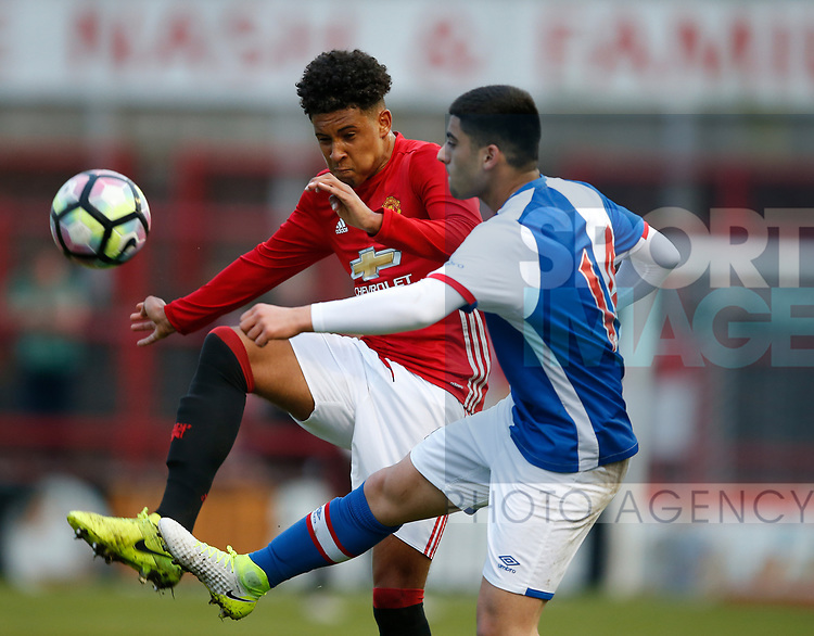 Jake Barrett of Manchester Utd during the U18 Premier League Merit Group A match at The J Davidson Stadium, Altrincham. Date 12th May 2017. Picture credit should read: Simon Bellis/Sportimage