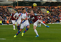 30th November 2019; Turf Moor, Burnley, Lanchashire, England; English Premier League Football, Burnley versus Crystal Palace; Martin Kelly of Crystal Palace blocks a shot in the area from Ashley Barnes of Burnley - Strictly Editorial Use Only. No use with unauthorized audio, video, data, fixture lists, club/league logos or 'live' services. Online in-match use limited to 120 images, no video emulation. No use in betting, games or single club/league/player publications
