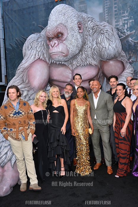 Jake Lacy, Marley Shelton, Malin Akerman, Jeffrey Dean Morgan, Naomie Harris, Jason Liles, Dwayne Johnson, Joe Manganiello, Dana Garcia, Hiram Garcia, Brad Peyton &amp; Breanne Hill at the premiere for &quot;Rampage&quot; at the Microsoft Theatre, Los Angeles, USA 04 April 2018<br /> Picture: Paul Smith/Featureflash/SilverHub 0208 004 5359 sales@silverhubmedia.com