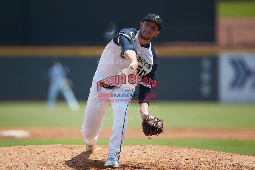 Gwinnett Stripers starting pitcher Patrick Weigel (50) follows through on his delivery against the Scranton/Wilkes-Barre RailRiders at Coolray Field on August 18, 2019 in Lawrenceville, Georgia. The RailRiders defeated the Stripers 9-3. (Brian Westerholt/Four Seam Images)