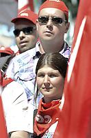 Roma, 16 Giugno 2012.Manifestazione nazionale dei sindacati Cgil, Cisl e Uil contro la riforma del lavoro. Piazza del Popolo..