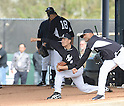 (L-R) Hiroki Kuroda, Masahiro Tanaka, CC Sabathia (Yankees),<br /> FEBRUARY 15, 2014 - MLB :<br /> Hiroki Kuroda, Masahiro Tanaka and CC Sabathia of the New York Yankees practice pitching in the bullpen during the New York Yankees spring training camp in Tampa, Florida, United States. (Photo by AFLO)