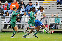 India Trotter (green), Alex Scott,..Saint Louis Athletica  tied 1-1 with Boston Breakers at Anheuser-Busch Soccer Park, Fenton, MO.