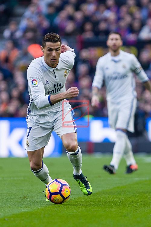 League Santander 2016/2017. Game: 14.<br /> FC Barcelona vs Real Madrid: 1-1.<br /> Cristiano Ronaldo.