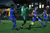 Quba Gordon of Haringey and Danny Cossington of Romford during Romford vs Haringey Borough, Bostik League Division 1 North Football at Ship Lane on 8th November 2017