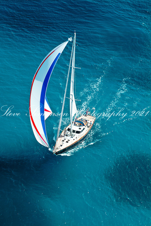 Aerial view of a sailing yacht<br /> U.S. Virgin Islands