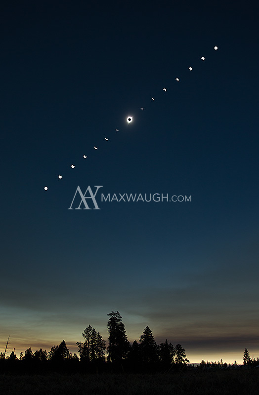A wide angle composite, showing the sequence of the 2017 solar eclipse.  This composite is a combination of several images.  I shot the entire sequence wide, but there was a lot of distortion in the sun, so I inserted photos taken with a longer lens in the same spot as the corresponding shots taken wide.  This sequence showing the sun in its true whitish color.