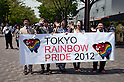 "April 29, 2012, Tokyo, Japan -  Organizers of ""Tokyo Rainbow Pride 2012""  leave from Yoyogi Park accompanied by Japanese politicians. Wataru Ishizaka, Taiga Ishikawa and Aya Kamikawa who participated in the parade. Tokyo Rainbow Pride parade started from Yoyogi Park and went around the Harajuku area.  (Photo by Rodrigo Reyes Marin/AFLO) (JAPAN)   ."