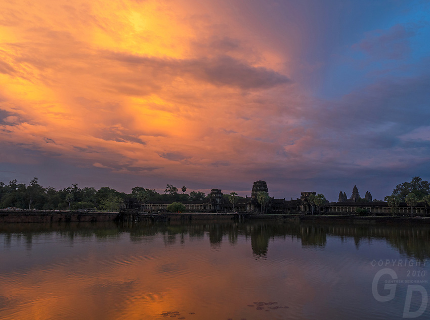 Dramatic Sunset over Angkor Wat, Siem Reap Cambodia