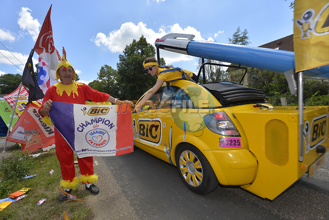 The publicity caravan passes by during Stage 4 of the 104th edition of the Tour de France 2017, running 207.5km from Mondorf-les-Bains, Luxembourg to Vittel, France. 4th July 2017.<br /> Picture: ASO/Bruno Bade | Cyclefile<br /> <br /> <br /> All photos usage must carry mandatory copyright credit (&copy; Cyclefile | ASO/Bruno Bade)
