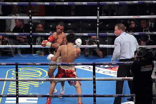 28th October 2017, Principality Stadium, Cardiff, Wales; World Heavyweight Boxing, Anthony Joshua versus Carlos Takam, Undercard fight;  Kal Yafai Versus Sho Ishida for WBA super flyweight world championship; Kal Yafai launches an attack to Sho Ishida