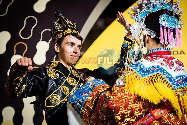 Romain Bardet (FRA) wearing a Bejing Opera costume on stage at the media day before the 2018 Shanghai Criterium, Shanghai, China. 16th November 2018.<br /> Picture: ASO/Pauline Ballet | Cyclefile<br /> <br /> <br /> All photos usage must carry mandatory copyright credit (&copy; Cyclefile | ASO/Pauline Ballet)