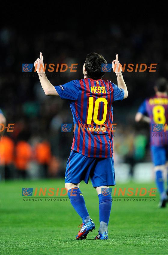 Esultanza dopo il gol di Lionel Messi (Barcelona).07/03/2012 Barcellona.UEFA Champions League.Barcelona vs Bayer Leverkusen.photo Insidefoto / Paco Largo / Panoramic .Italy Only