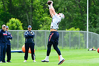 June 7, 2017: New England Patriots tight end Rob Gronkowski (87) catches a pass at the New England Patriots mini camp held on the practice field at Gillette Stadium, in Foxborough, Massachusetts. Eric Canha/CSM