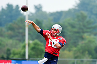 August 3, 2017: New England Patriots quarterback Tom Brady (12) throws a pass at the New England Patriots training camp held at Gillette Stadium, in Foxborough, Massachusetts. Eric Canha/CSM