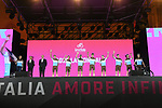 AG2R La Mondiale on stage at the Teams Presentation held in Piazza Maggiore Bologna before the start of the 2019 Giro d'Italia, Bologna, Italy. 9th May 2019.<br /> Picture: Fabio Ferrari/LaPresse | Cyclefile<br /> <br /> All photos usage must carry mandatory copyright credit (&copy; Cyclefile | Fabio Ferrari/LaPresse)