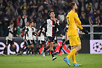 Paulo Dybala of Juventus celebrates after scoring to give the side a 1-0 lead during the UEFA Champions League match at Juventus Stadium, Turin. Picture date: 26th November 2019. Picture credit should read: Jonathan Moscrop/Sportimage