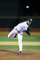 Wake Forest Demon Deacons relief pitcher Donnie Sellers (14) in action against the Georgetown Hoyas at David F. Couch Ballpark on February 19, 2016 in Winston-Salem, North Carolina.  The Demon Deacons defeated the Hoyas 3-1.  (Brian Westerholt/Four Seam Images)