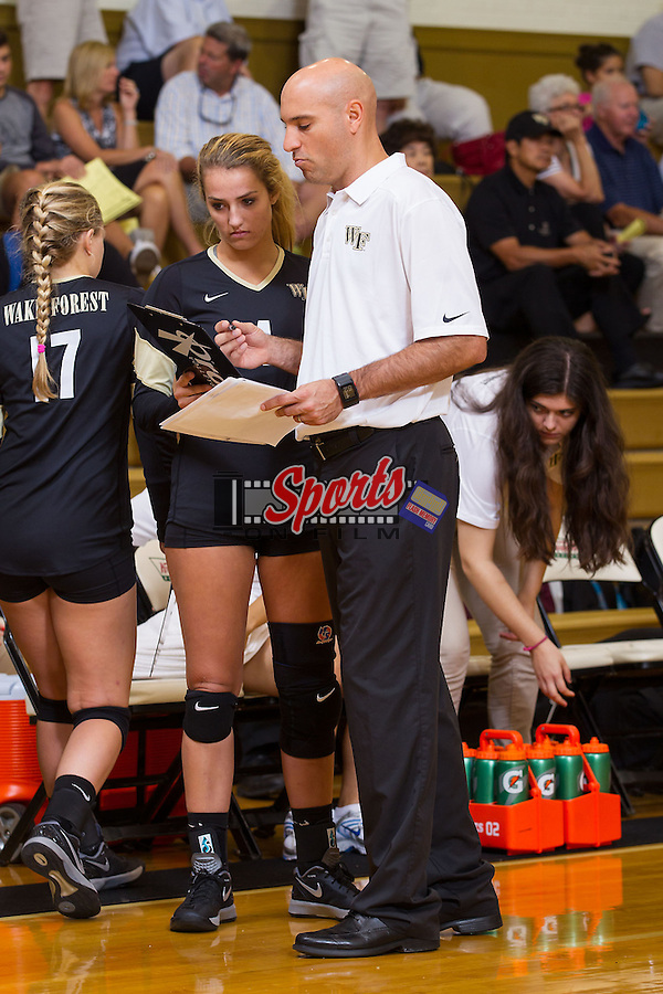 in Reynolds Gymnasium on September 6, 2014 in Winston-Salem, North Carolina.  The Demon Deacons defeated the Blue Hose 3-1.   (Brian Westerholt/Sports On Film)