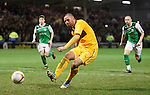 Michael Higdon scores his third goal from the penalty spot