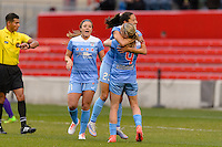 Bridgeview, IL, USA - Sunday, May 1, 2016: Chicago Red Stars forward Christen Press (23) celebrates a goal with teammates midfielder Sofia Huerta (11) and midfielder Alyssa Mautz (4) during a regular season National Women's Soccer League match between the Chicago Red Stars and the Orlando Pride at Toyota Park. Chicago won 1-0.