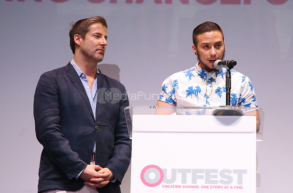 """LOS ANGELES, CA- Christopher Racster, Kieran Medina, At 2017 Outfest Los Angeles LGBT Film Festival - Closing Night Gala Screening Of """"Freak Show"""" at The Theatre at Ace Hotel, California on July 16, 2017. Credit: Faye Sadou/MediaPunch"""