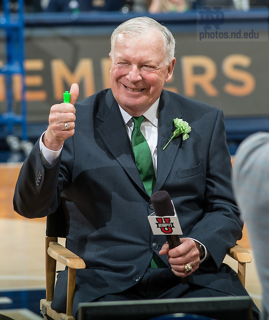 Jan 19, 2014; Former basketball coach Richard &quot;Digger&quot; Phelps smiles before the game between the Notre Dame Fighting Irish and the Virginia Tech Hokies at the Purcell Pavilion. Phelps was inducted into the Notre Dame Ring of Honor. <br /> <br /> Photo by Matt Cashore