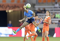 Tasha Kai (32) of Sky Blue FC wins a header over Andressa (17) of the Houston Dash on Friday, April 29, 2016 at BBVA Compass Stadium in Houston Texas. The Houston Dynamo and Sky Blue FC tied 0-0.