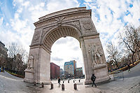 New York, NY - Washington Arch, in Washington Square park, designed by Sanford White,  built in 1892 of Tuckahoe Marble, to commerate the 100th anniversary of George Washington's Inauguration.