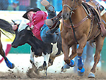 Sean Santucci competes in the steer wrestling competition at the Reno Rodeo in Reno, Nev., on Friday, June 20, 2014.<br />