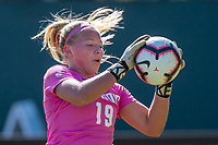 STANFORD, CA - OCTOBER 12: Katie Meyer #19 of the Stanford Cardinal during a game between the Stanford Cardinal and Washington Huskies women's soccer teams at Cagan Stadium on October 6, 2019 in Stanford, California. during a game between University of Washington and Stanford Soccer W at Laird Q. Cagan Stadium on October 12, 2019 in Stanford, California.