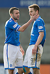 Raith Rovers v St Johnstone....08.03.14    Scottish Cup Quarter Final<br /> James Dunnes tries to calm Steven MacLean down <br /> Picture by Graeme Hart.<br /> Copyright Perthshire Picture Agency<br /> Tel: 01738 623350  Mobile: 07990 594431