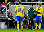 Solna 2015-10-12 Fotboll EM-kval , Sverige - Moldavien :  <br /> Sveriges Zlatan Ibrahimovic byts ut under matchen mellan Sverige och Moldavien <br /> (Photo: Kenta J&ouml;nsson) Keywords:  Sweden Sverige Solna Stockholm Friends Arena EM Kval EM-kval UEFA Euro European 2016 Qualifying Group Grupp G Moldavien Moldova