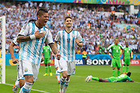 Marcos Rojo of Argentina celebrates scoring a goal after making it 3-2