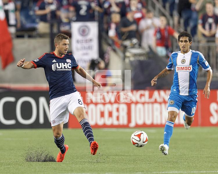 Foxborough, Massachusetts - June 28, 2014:  In a Major League Soccer (MLS) match, Philadelphia Union (blue/white) defeated the New England Revolution (dark blue/white), 3-1, at Gillette Stadium.