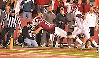 NWA Media/Michael Woods --10/11/2014-- w @NWAMICHAELW...University of Arkansas receiver AL Derby scores a touchdown in the 3rd quarter of Saturdays game at Razorback Stadium in Fayetteville.