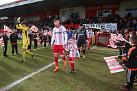 The teams take to the field during Stevenage vs Crewe Alexandra, Sky Bet EFL League 2 Football at the Lamex Stadium on 10th March 2018