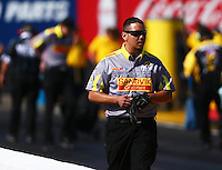 Feb 24, 2017; Chandler, AZ, USA; Crew member for NHRA funny car driver Matt Hagan during qualifying for the Arizona Nationals at Wild Horse Pass Motorsports Park. Mandatory Credit: Mark J. Rebilas-USA TODAY Sports