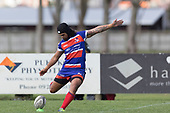 Latiume Fosita kicks a penalty for Ardmore Marist. Counties Manukau Premier Counties Power Game of the Week Club Rugby Round 4 game between Pukekohe and Ardmore Marist, played at Colin Lawrie Fields Pukekohe on Friday March 30th 2018.<br /> Ardmore Marist won the game 27 - 21 after leading 13 - 11 at halftime.<br /> Pukekohe Mitre 10 Mega 21 -Trent White, Samu Pailegutu tries, Sione Fifita conversion, Sione Fifita 2, Vilitati Sabani penalties. Ardmore Marist South Auckland Motors 27 - Katetistoti Nginingini, Karl Ropati, Alefosio Tapili tries, Latiume Fosita 3 conversions, Latiume Fosita 2 penalties. <br /> Photo by Richard Spranger.