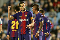 FC Barcelona's Sergio Busquets (l) and Paulinho during Spanish Kings Cup match. January 4,2018. (ALTERPHOTOS/Acero)