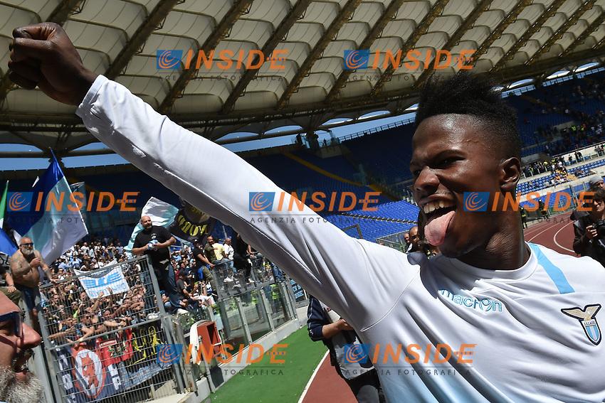 Esultanza Keita Balde Diao Lazio celebration at the end of the match. Lazio won 1-3 <br /> Roma 30-04-2017 Stadio Olimpico Football Calcio Serie A 2016/2017 AS Roma - Lazio Foto Andrea Staccioli / Insidefoto