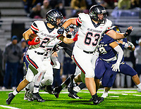 Pea Ridge vs Shiloh Christian - Pea Ridge Junior Samuel Beard (2) runs behind Thaddeus Timmons (63 ) against Shiloh Christrian during the 2nd quarter<br />