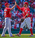 24 May 2015: Washington Nationals outfielder Bryce Harper celebrates victory with teammates after a game against the Philadelphia Phillies at Nationals Park in Washington, DC. The Nationals defeated the Phillies 4-1 to take the rubber game of their 3-game weekend series. Mandatory Credit: Ed Wolfstein Photo *** RAW (NEF) Image File Available ***